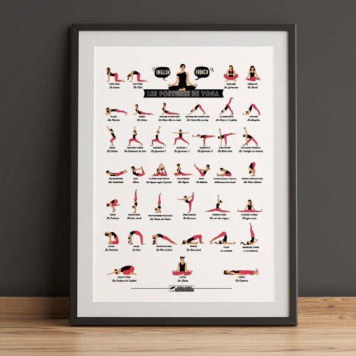 Bilingual yoga pose french english (5 by 7 ratio International size)
