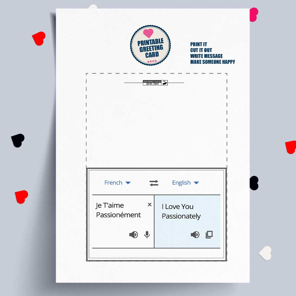 I love you passionately google translate greeting card French and English