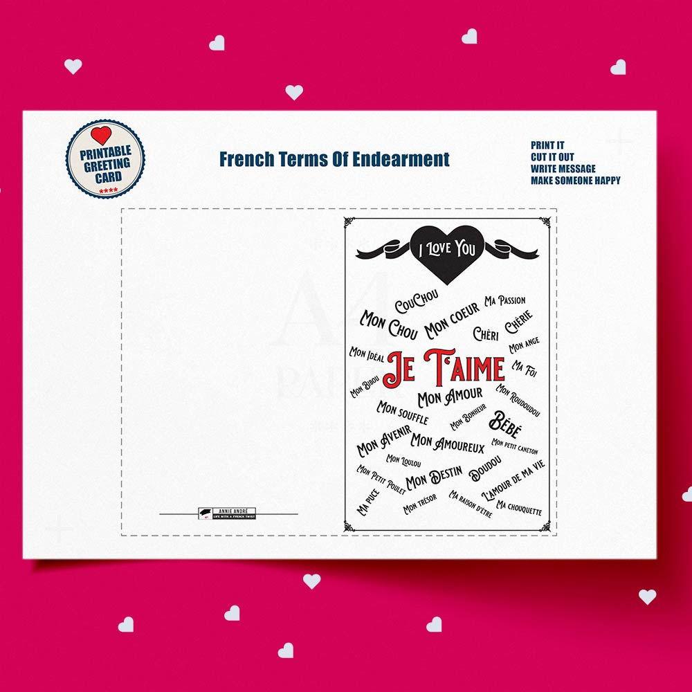 French terms of endearment greeting card