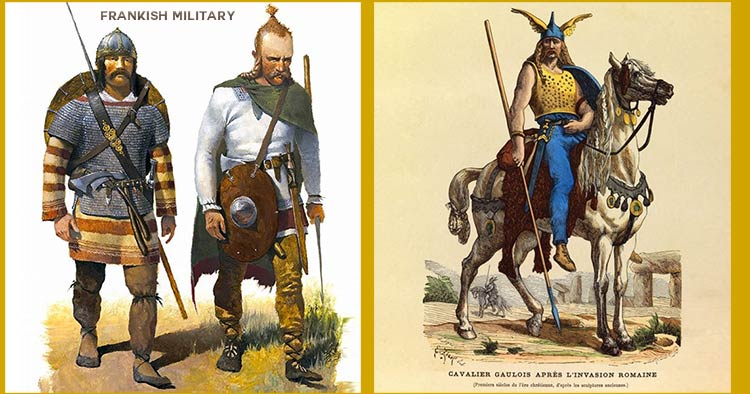 military uniforms of the Celtic Gaul's and Germanic Franks