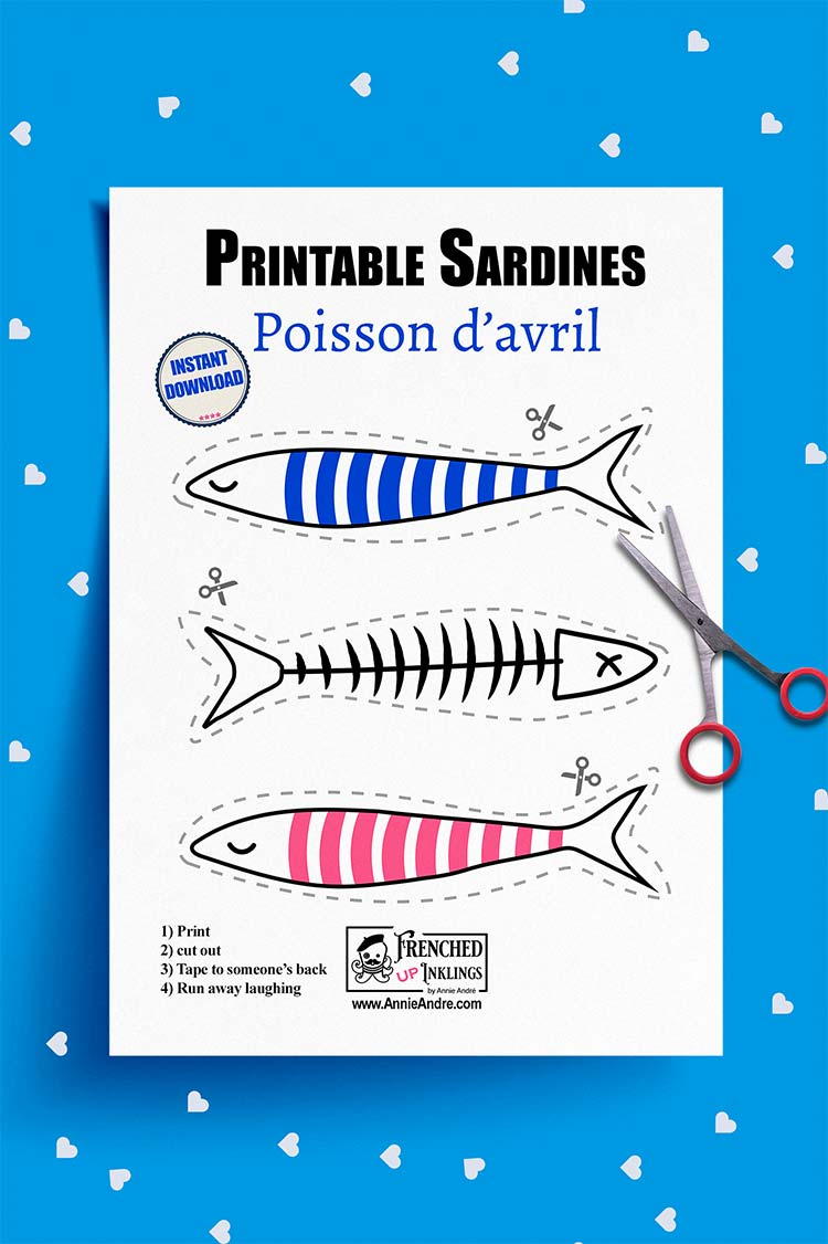 Free printable paper fish for poisson d'avril : French April Fools day