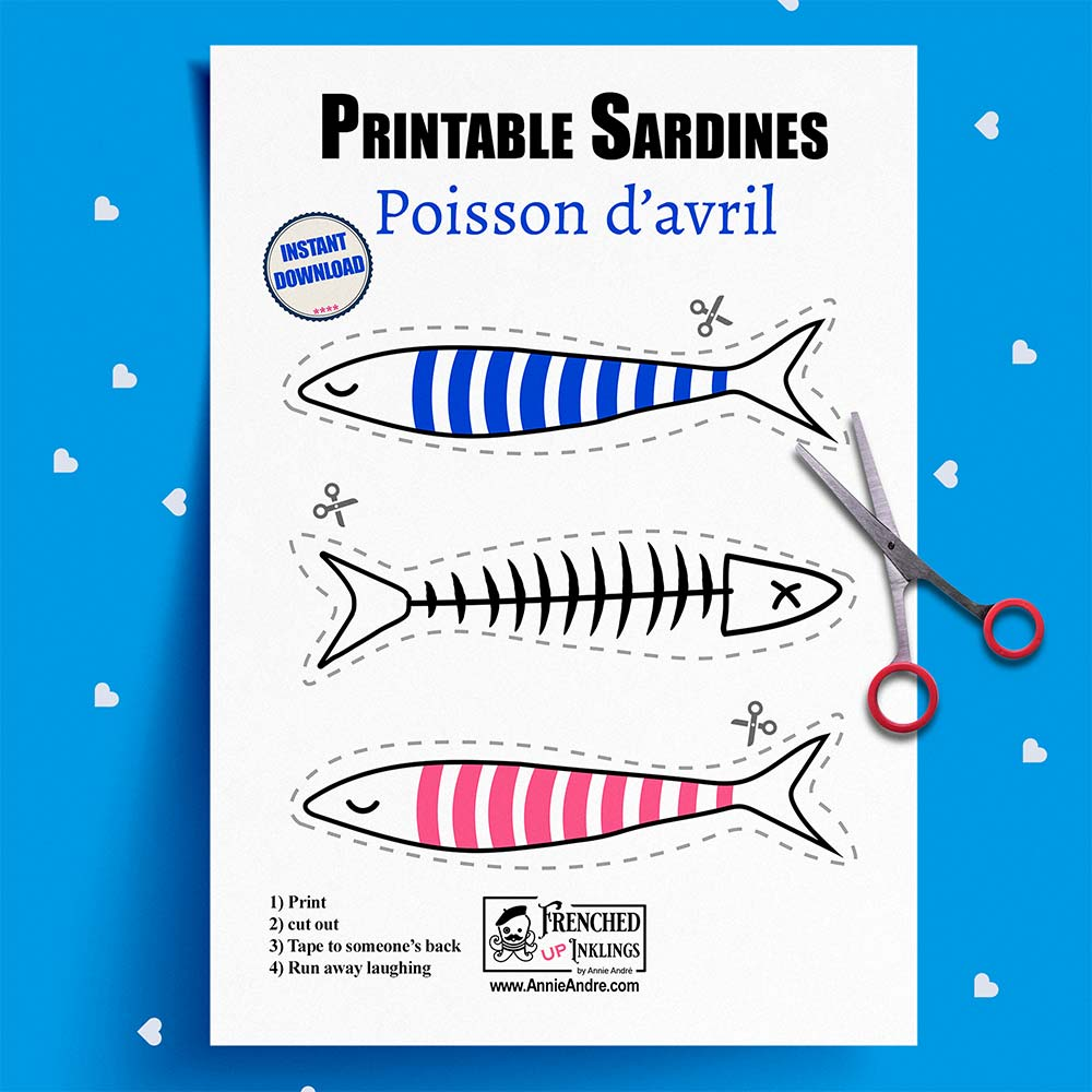 Printable paper fish for Poisson d'avril: (April Fish Day) The French April Fool's Day