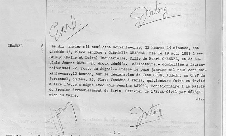 Chanel Death record Paris archives