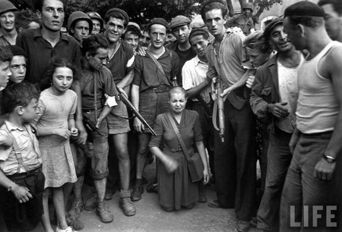 French woman who merely slept with a German SS officer were punished, attacked, beaten and had their heads publicly shaved