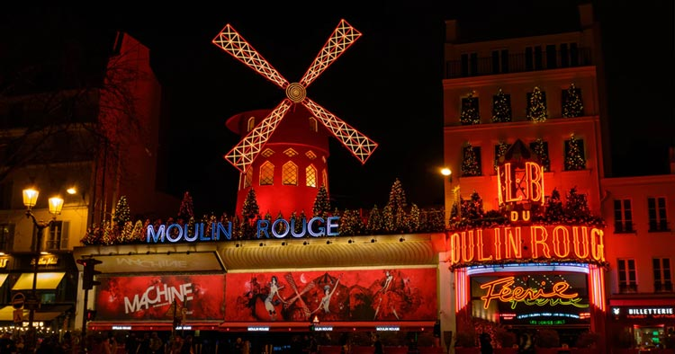 Le Moulin Rouge In Paris Montmartre district