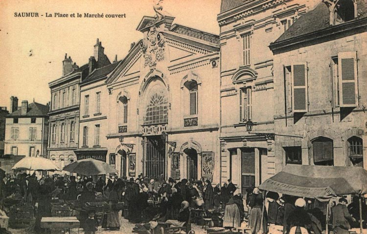 Saumur France outdoor market, possibly the late 1800's