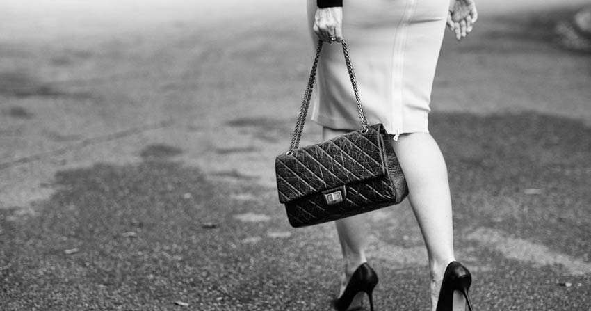Classic Chanel quilted 2.55 bag with all metal long strap and mademoiselle lock