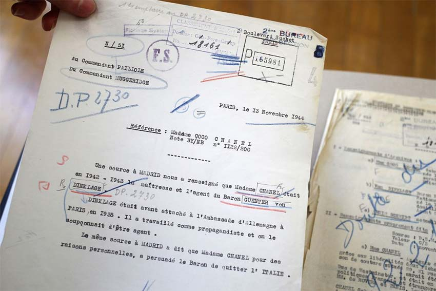 Declassified French intelligence documents about Chanel and her involvement as a German Nazi agent