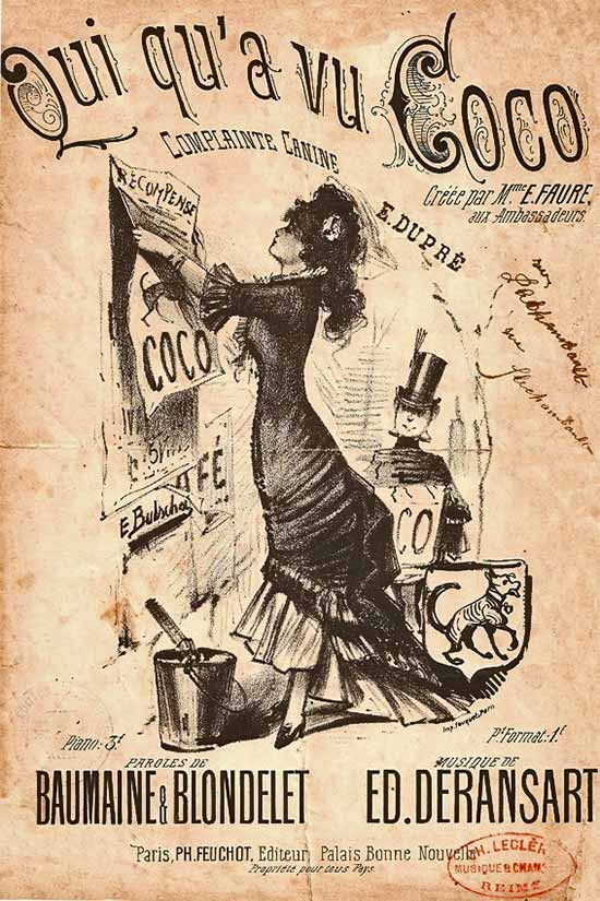 Qui qu'a vu Coco Poster: one of the songs sung by Chanel in the cabarets in Moulin France