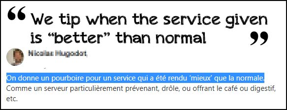 tip in France when service given is better than normal