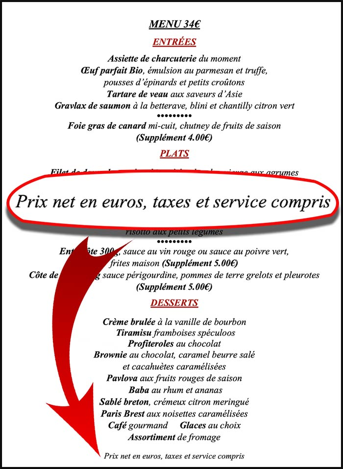 service charge: service compris on a French menu in France