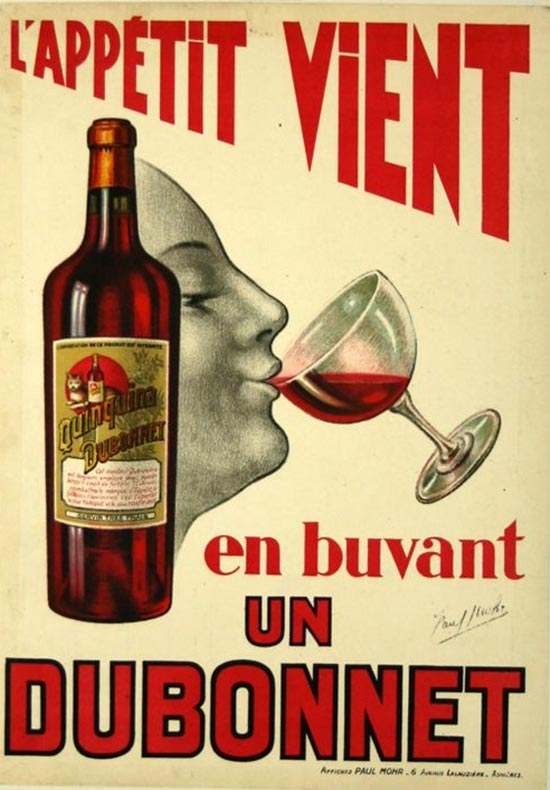 """Dubonnet, a French drink """"aperitif"""" made with wine and quinine wine infused with herbs: comes in red and white"""
