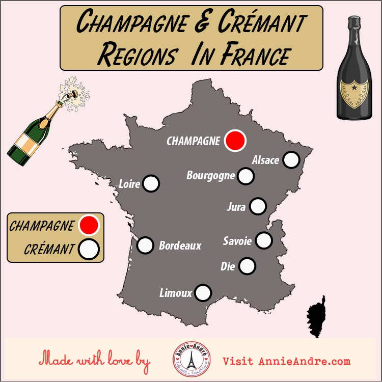 Map of 8 AOC Crémant regions and 1 Champagne region