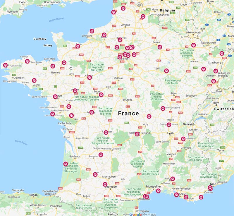 Map French amusement parks, theme parks fairs and carnivals across France