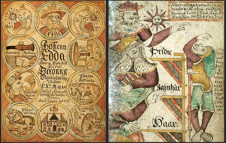 cover and inside page of Edda Manuscript: Norse Mythology and poems