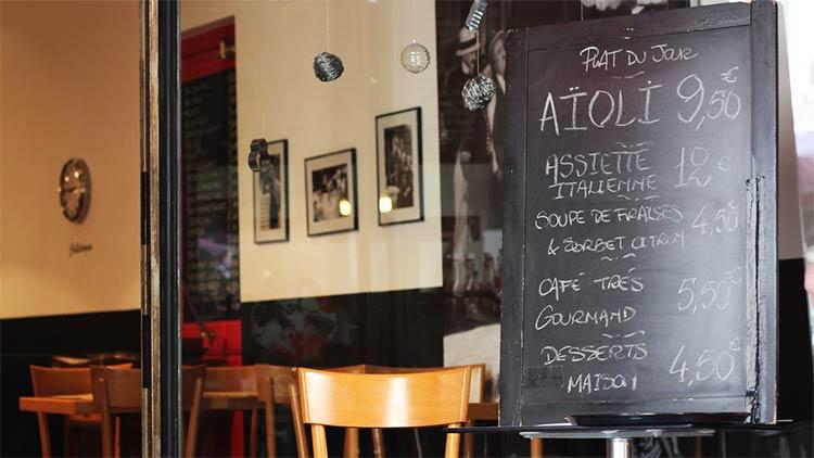 French restaurant menu sign with plat du jour Aïoli or Grand Aioli
