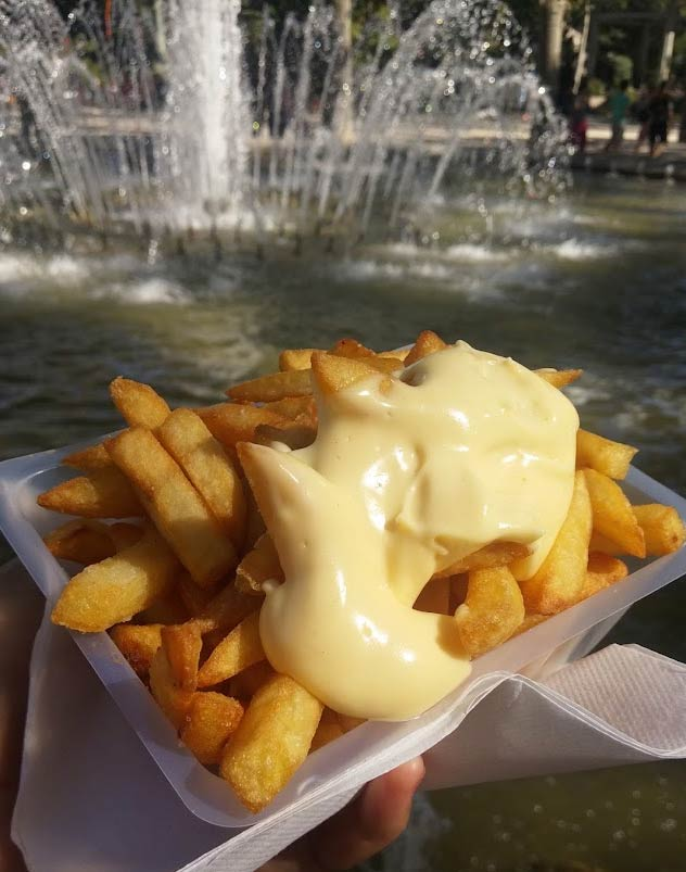 Enjoying les frites with mayonnaise near place de la comédie in Montpellier