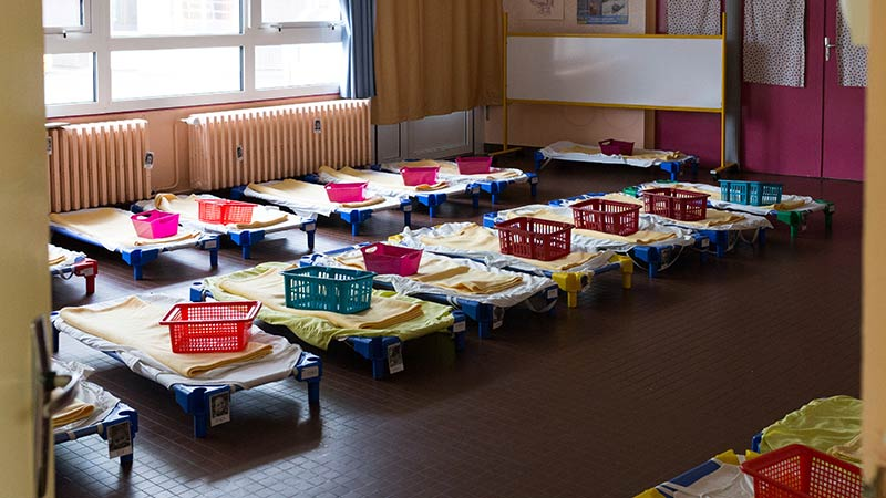 Nap room at école Maternelle in France: Preschool