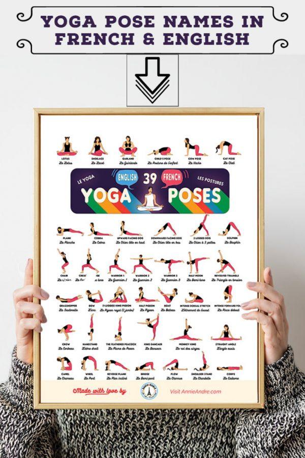 Printable Bilingual Yoga Pose Chart With 39 Asana Names in English & French